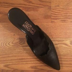 Salvatore Ferragamo Black Mules Slides